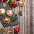 caseiro · mini · pizza · ovo · frito · cebolas · tabela - foto stock © grafvision
