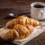 croissantok · kávé · reggeli · friss · sült · fából · készült - stock fotó © grafvision