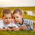 dois · irmão · prado · sorrir · feliz - foto stock © grafvision