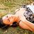 расслабляющая · трава · девушки · счастливым · наушники - Сток-фото © grafvision