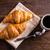 kávé · croissantok · reggeli · asztal · ital · kávézó - stock fotó © grafvision