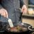 şef · domuz · eti · et · siyah · tava · gıda - stok fotoğraf © grafvision