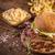 eigengemaakt · vers · hamburger · spek · houten · tabel - stockfoto © grafvision