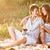 gelukkig · paar · liefde · zomer · picknick · jonge - stockfoto © grafvision