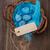 huevos · de · Pascua · etiqueta · azul · mesa · de · madera · superior · vista - foto stock © grafvision