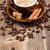 beker · koffie · kaneel · koffiebonen · rond · koffiekopje - stockfoto © grafvision