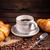 kávé · croissant · kávé · fából · készült · étel · háttér - stock fotó © grafvision