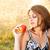 женщину · яблоко · красивой · луговой · трава - Сток-фото © grafvision