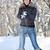 játszik · kép · fiatal · nő · hógolyó · boldog · hó - stock fotó © grafvision
