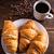 kávé · croissant · reggeli · rusztikus · fa · asztal · csésze - stock fotó © grafvision