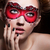 painted face beautiful girl in red carnival mask masquerade stock photo © gromovataya