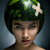 young hair fashion model with ripe fresh watermelon as a helmet stock photo © gromovataya