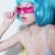 individuality woman wears blue glossy wig and pink glasses stock photo © gromovataya