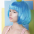 imagination asian woman in blue wig with apple on her head stock photo © gromovataya