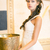 luxurious posh brunette in white dress oriental antique golden decor stock photo © gromovataya