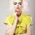 art deco vivid blond hair woman with conspicuous makeup glamor stock photo © gromovataya