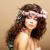 printemps · beauté · femme · couronne · fleurs · beige - photo stock © gromovataya