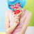 trendy woman in blue wig and ping glasses eating watermelon stock photo © gromovataya