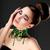 Fresh Woman Face. Necklace with Emerald Gemstones - Luxury stock photo © gromovataya
