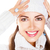 Portrait of beauty woman in white cap and pullover. Happy smile stock photo © gromovataya