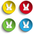 set of four happy easter bunny stickers stock photo © gubh83