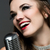 retro · femenino · cantante · jóvenes · mujer · bonita · cantando - foto stock © handmademedia