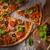házi · készítésű · vegetáriánus · pizza · paradicsom · póréhagyma · hagyma - stock fotó © hansgeel