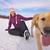 lány · jég · korcsolya · játszik · kutya · örömteli - stock fotó © harlekino