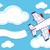самолет · баннер · иллюстрация · Cartoon · синий - Сток-фото © hayaship