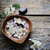 virágok · fa · asztal · friss · levelek · mintázott · fából · készült - stock fotó © hitdelight