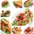 ensalada · collage · griego · gamba · pollo - foto stock © hitdelight