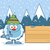 little yeti cartoon mascot character with hat pointing to a wooden blank sign stock photo © hittoon