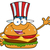 american burger cartoon mascot character with patriotic hat waving for greeting stock photo © hittoon