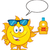 cute sun cartoon mascot character with sunglasses holding a bottle of sun block cream stock photo © hittoon