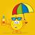 cute sun cartoon mascot character holding a umbrella and bottle of sun block cream stock photo © hittoon