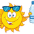 cute sun cartoon mascot character with sunglasses holding a water bottle with text stock photo © hittoon