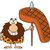 smiling male caveman cartoon mascot character holding a spear with big grilled steak stock photo © hittoon