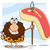 smiling male caveman hunter cartoon mascot character holding a spear with big raw steak stock photo © hittoon
