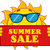cheerful sun cartoon mascot character with sunglasses over a sign board with text summer sale stock photo © hittoon