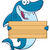 Happy Blue Shark Cartoon Mascot Character Holding A Wooden Blank Sign stock photo © hittoon