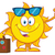 smiling summer sun cartoon mascot character with sunglasses carrying luggage and waving stock photo © hittoon