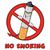 devil cigarette cartoon mascot character in a prohibited symbol with text no smoking stock photo © hittoon