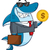 smiling business shark cartoon mascot character in suit carrying a briefcase and holding a golden d stock photo © hittoon