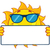 cute sun cartoon mascot character with sunglasses holding a blank sign stock photo © hittoon