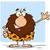 happy male caveman cartoon mascot character waving for greeting stock photo © hittoon