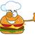 winking chef burger cartoon mascot character showing thumbs up stock photo © hittoon