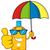smiling bottle sunscreen cartoon mascot character with sunglasses and umbrella giving a thumbs up stock photo © hittoon