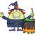 halloween · cadı · kız · mutlu · çapraz · ay - stok fotoğraf © hittoon