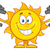 Smiling Sun Cartoon Mascot Character Working Out With Dumbbells stock photo © hittoon