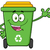 happy green recycle bin cartoon mascot character waving for greeting stock photo © hittoon